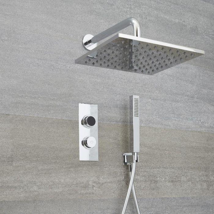 Narus - 2-weg Digitale Thermostaatkraan 30 x 30cm Regendouchekop Muurbevestiging &  Handdouchecombi
