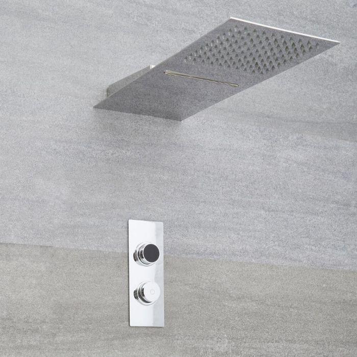 Narus - 2-weg Digitale Thermostaatkraan 20 x 50 cm Waterval &  Regendouchekop Vierkant Muurbevestiging