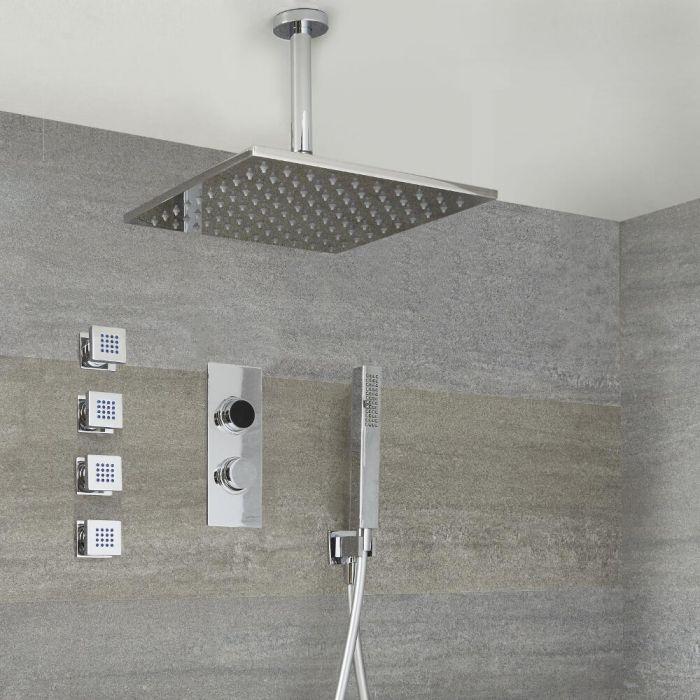 Narus - 3-weg Digitale Thermostaatkraan + 30 x 30cm PlafondDouchekop  + Handdouchecombi & Bodyjets