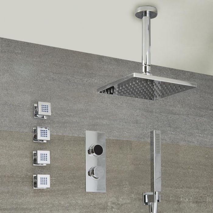 Narus - 3-weg Digitale Thermostaatkraan + 40 x 40cm PlafondDouchekop  + Handdouchecombi & Bodyjets