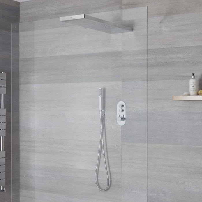 Idro 2-weg Thermostatische Drukknop Douchekraan Handouche Combi & 80cm Douchehemel