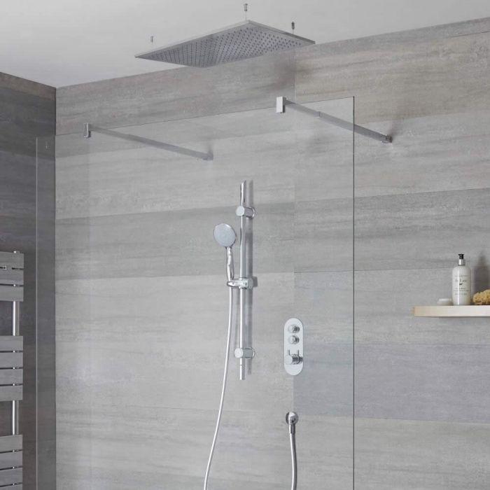 Idro 2-weg Thermostatische Drukknop Douchekraan Glijstanguitrusting & d. 80cm Plafond Douchekop