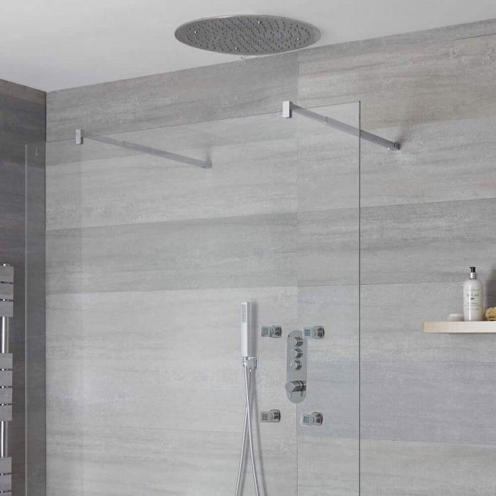 Idro 3-weg Thermostatische Drukknop Douchekraan Handdouchecombi & d.40cm Verzonken Plafond Douchekop & Bodyjets