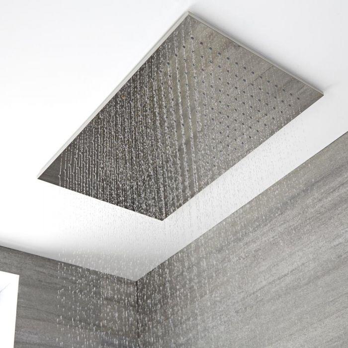 Trenton Moderne Regendouche Plafond Messing Chroom incl Plafond Kabels 80cm x 50cm