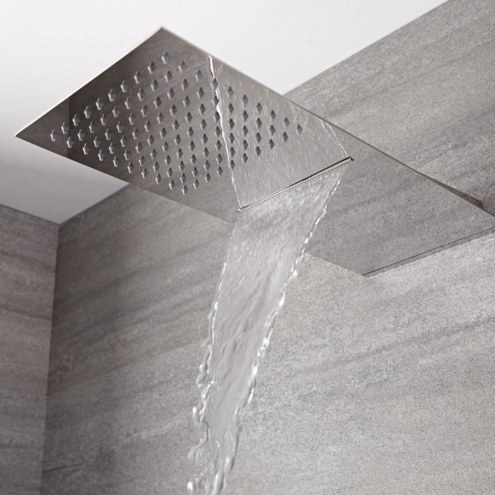 Trenton Moderne Regendouche met Waterval Messing Chroom 50cm x 20cm