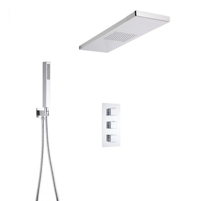 Hudson Reed vierkante 3 weg  thermostatische douchekraan, douchehemel en handdouche