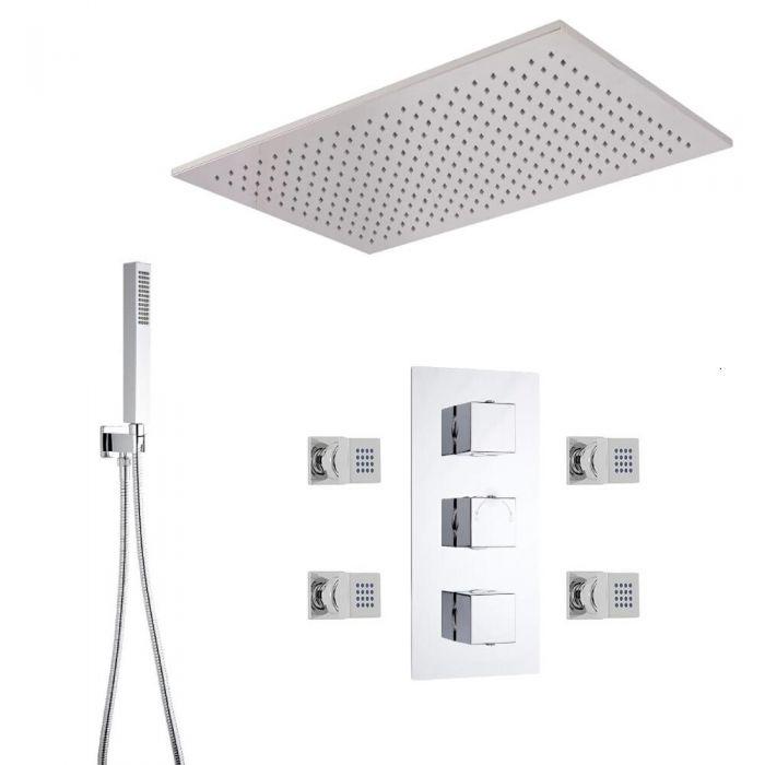 Arvo 3-weg Inbouw Thermostaatkraan 80 x 60cm Plafond Douchekop, Handdouche Combi & 4 Bodyjets