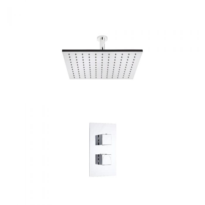Hudson Reed vierkante 2 weg thermostatische douchekraan 400mm douchekop en plafondbevestiging