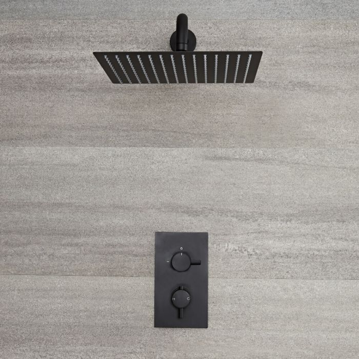 Nox 1-weg Thermostatische Douchekraan & 40 x 40cm Vierkante Douchekop Zwart