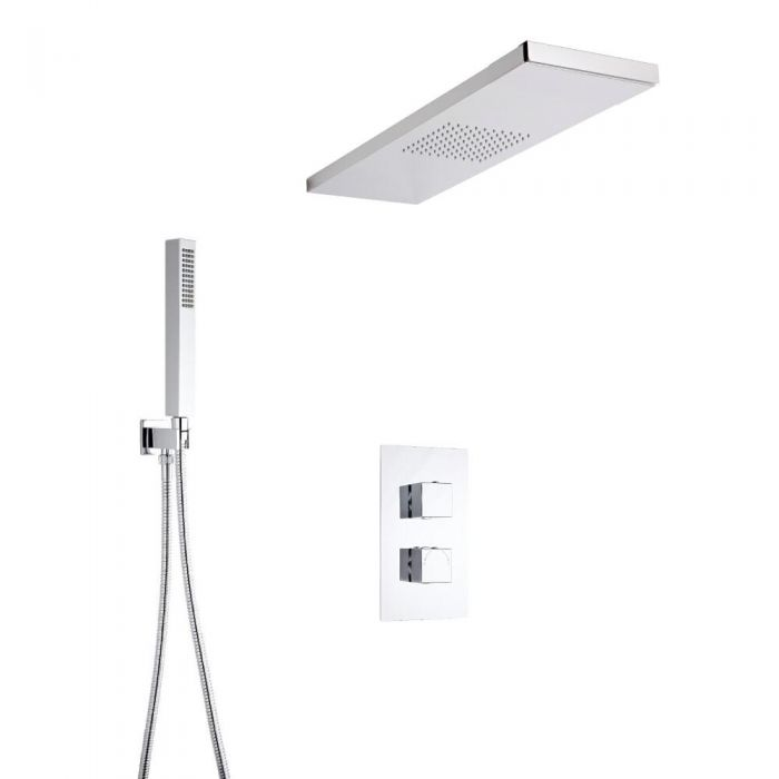 Hudson Reed vierkante 2 weg thermostatische douchekraan met richtklep, douchehemel en handdouche