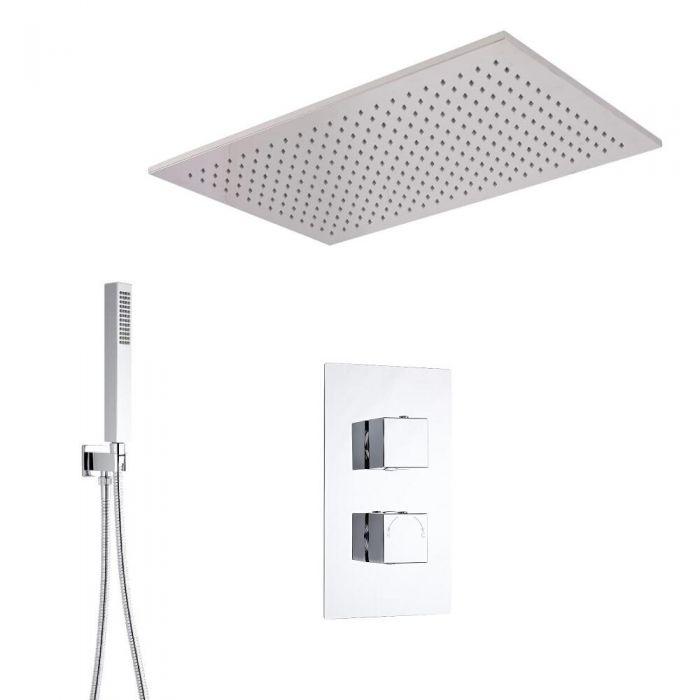 Hudson Reed vierkante 2 weg thermostatische douchekraan met omstelkraan 800x500 inbouwdouchekop en handdouche