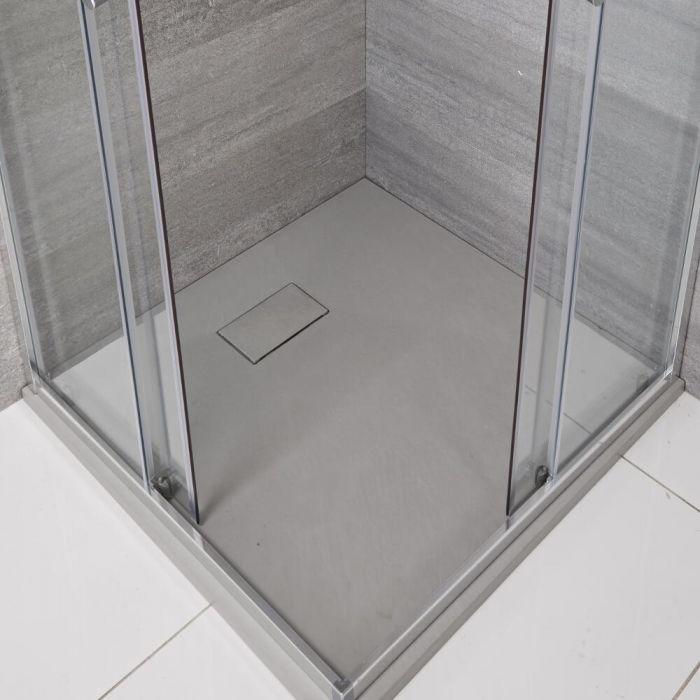 Vierkante Douchebak Met Lichtgrijze Steeneffect Afwerking - 80 x 80cm