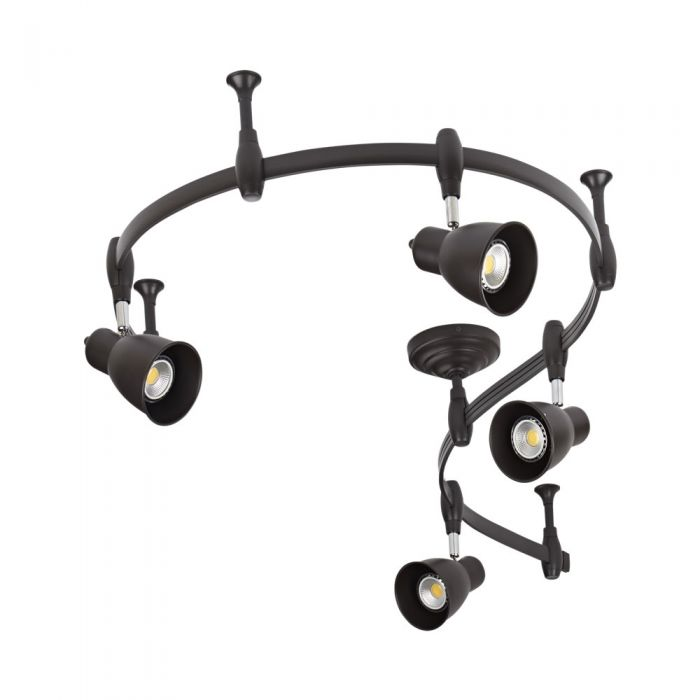 Biard Panza 200cm Flexibele Railverlichting Set incl 4 Railspots GU10 IP20 Zwart