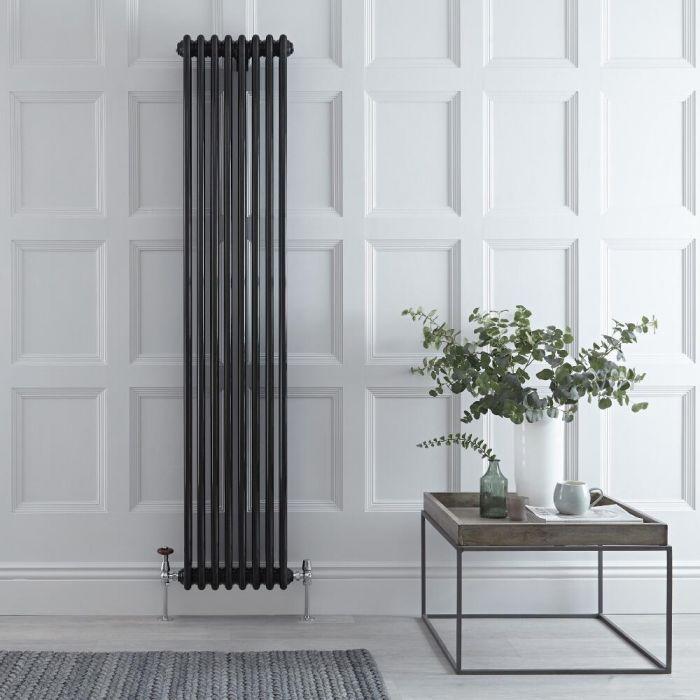 Designradiator Verticaal Klassiek Zwart 180cm x 38cm x 10cm 1558 Watt - Windsor