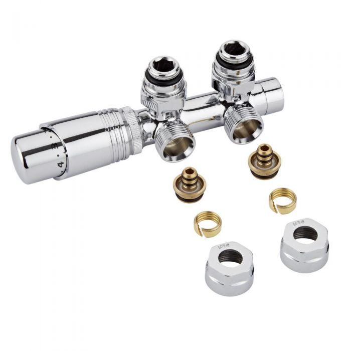 H-Blok 2-pijps Thermostatische Radiatorkraan Haaks  3/4'' Mannelijk Chroom14mm Meerlagenbuis Adapter