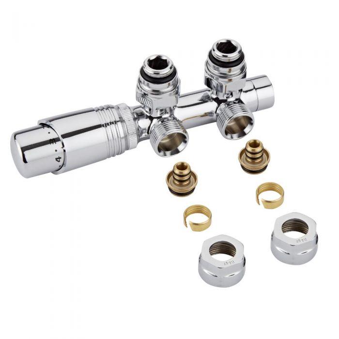H-Blok 2-pijps Radiatorkraan Haaks  3/4'' Mannelijk Chroom 16mm Meerlagenbuis Adapter