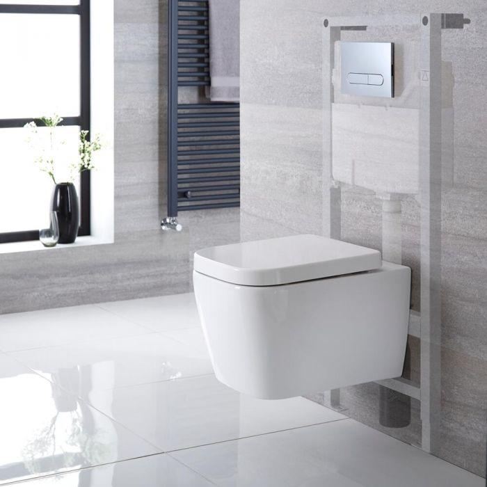 Milton Hangend Keramiek Toilet Vierkant incl Inbouwreservoir ( Large) en Keuze Spoelknop