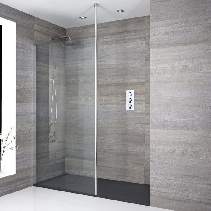 Inloopdouchecombinatie Chroom Vloer-Plafond Profiel & Kunststeen Douchebak 140 x 80 cm | Sera