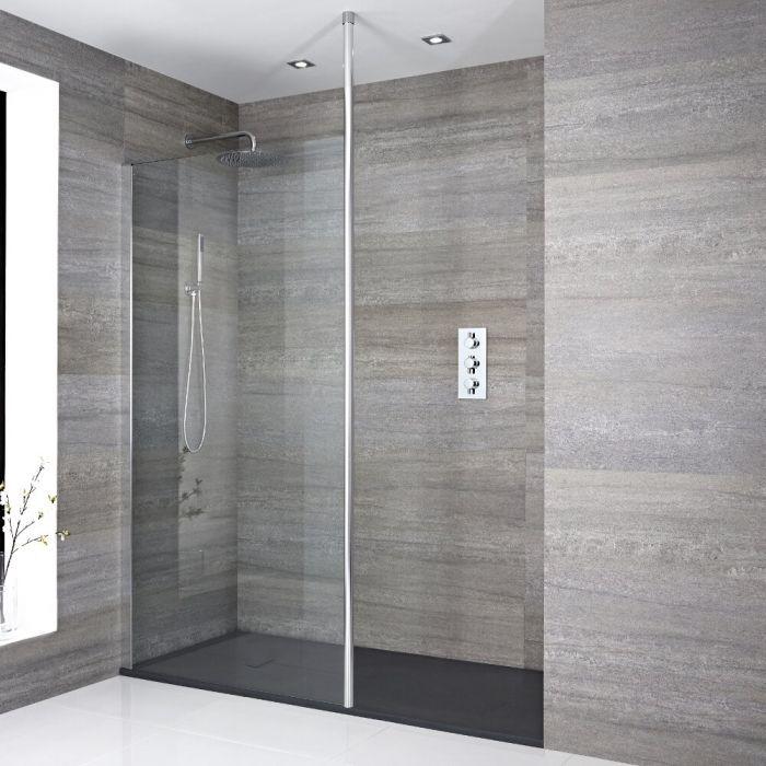 Inloopdouchecombinatie Chroom Vloer-Plafond Profiel & Kunststeen Douchebak 170 x 90 cm