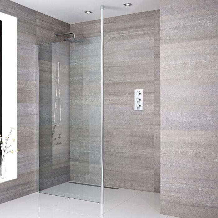 Muur bevestigend inloop douche met bevestings paal en chromen afvoer | Sera