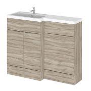 110cm x 35,5cm Modern Drijfhout effect Staand Wastafel & Toiletmeubel-combinatie - Linker Uitvoering