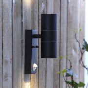 Le Mans - Op- En Neerwaartse Buitenlamp Met Pir Sensor - Rond - Zwart