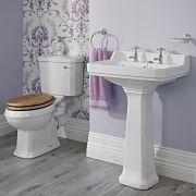 Richmond wastafel - 59,5cm & toilet met reservoir en keuze uit verschillende toiletzitting