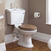 Klassiek Toilet met Reservoir en Walnoot Houten Toiletzitting - Keramisch