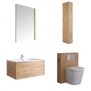 Newington Hangend Wastafelmeubel 80cm met Wasbak - Staand Toilet met Ombouw - Kast en Spiegel  Gouden Eik