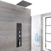 Iles 3-weg Inbouw Thermostatisch Douchepaneel Staalgrijs Verzonken Douchekop 40 x 40cm Handdouche en Bodyjets