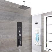 3-weg Thermostatisch Inbouw Douchepaneel Staalgrijs 30 x 30cm Vierkante Douchekop & 15cm Plafond-arm Handdouche Bodyjet