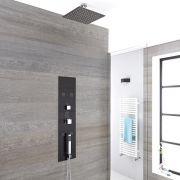 Llis 3-weg Thermostatisch Inbouw Douchepaneel Staalgrijs Vierkante 40x40cm Douchekop & 5cm Plafond-arm   Handdouche Bodyjet