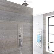 Voco 3-weg Inbouw Douchepaneel Geborsteld Staal d. 20cm Douchekop 5cm Korte Plafond-arm Handdouche Bodyjet