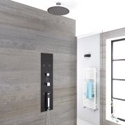 3-weg Inbouw Douchepaneel Geborsteld Staal d. 30cm Douchekop Korte Plafond-arm 5cm Handdouche Bodyjet