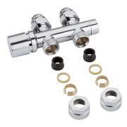H-Blok 2-pijps Radiatorkraan Recht  3/4'' Mannelijk Chroom 15mm Koperen Adapter