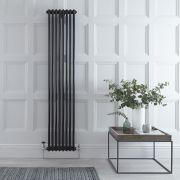 Windsor Designradiator Verticaal Klassiek Zwart 180cm x 38,3cm x 6,8cm 1245 Watt