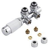 H-Blok 2-pijps Thermostatische Radiatorkraan Haaks  3/4'' Mannelijk Chroom/Wit 14mm Meerlagenbuis Adapter