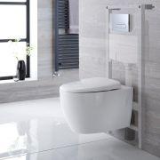 Exton hangend Keramiek Toilet  incl Inbouwreservoir ( Large) en Keuze Spoelknop