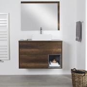 Wastafelmeubel +  1 x Opzetwastafel Wastafel Hangend Donker Eiken 100cm  – incl/excl. LED - Hoxton