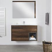 Wastafelmeubel +  Enkele Wastafel Hangend Donker Eiken 100cm  – incl/excl. LED - Hoxton