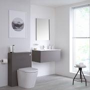 Badkamermeubel Set Hangend 80cm Mat Grijs Incl Wastafelmeubel + Toilet + Stortbak +Ombouw  - incl/excl. LED - Newington