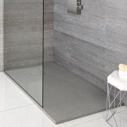 Hudson Reed rechthoekige douchebak met lichtgrijze steeneffect afwerking - 120 x 90 cm