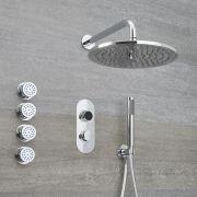 Narus - 3-weg Digitale Thermostaatkraan + d.30cm Douchekop Muurbevestiging + Handdouchecombi & Bodyjets