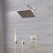 Harting 2-weg Thermostatische Douchekraan Met Vierkante Douchekop 20cm & Handdouche - Geborsteld Nikkel