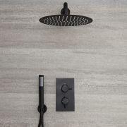 Nox 2-weg Thermostatische Douchekraan Incl d. 30cm Douchekop & Handdouche Combi. Zwart