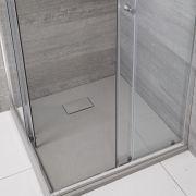 Hudson Reed vierkante douchebak met lichtgrijze steeneffect afwerking - 90 x 90 cm