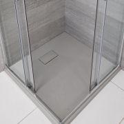 Hudson Reed vierkante douchebak met lichtgrijze steeneffect afwerking - 80 x 80 cm