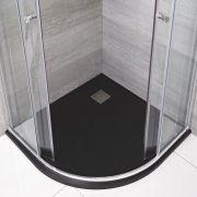 Kwadrant Douchebak Met Grafieten Steeneffect Afwerking - 80cm