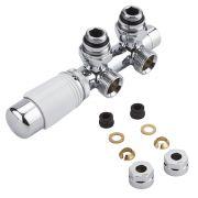 H-Blok 2-pijps Thermostatische Radiatorkraan Haaks  3/4'' Mannelijk Chroom/Wit 12mm Koperen Adapter