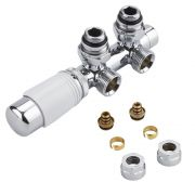 H-Blok 2-pijps Thermostatische Radiatorkraan Haaks  3/4'' Mannelijk Chroom/Wit 16mm Meerlagenbuis Adapter